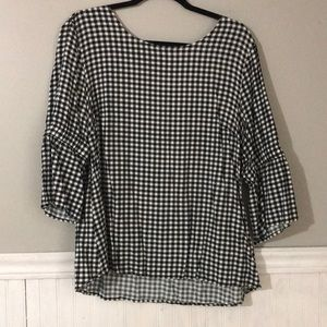 Maurice's black and white gingham check blouse.